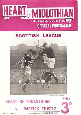 HEARTS v Partick Thistle, 11th September 1954, A Division
