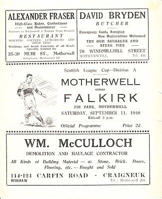 MOTHERWELL v Falkirk, 11th September 1948, Scottish League Cup section