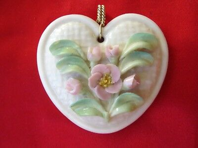 Vintage Belleek Ceramic Hearts & Flowers Pendant