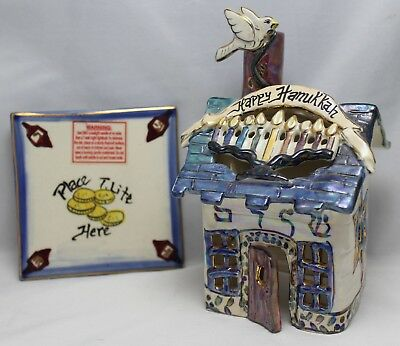 Blue Sky Clayworks Happy Hanukkah Tea Light Ceramic House Mint Condition