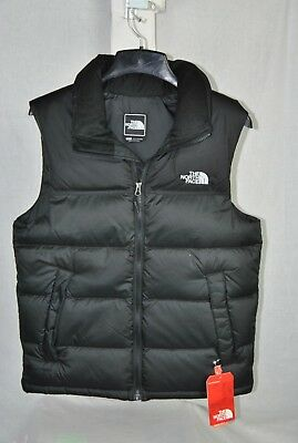 New The North Face Mens Nuptse Vest Black 700 Fill Down Insulated Warm Free Ship