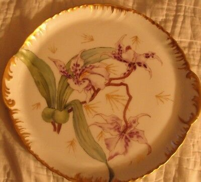 Antique Limoges France Hand Painted Purple Flowers Stunning Handle Gold Plate