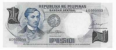 Philippines 1 Piso Pick 142-A Solid Serial # 999999 CHCU