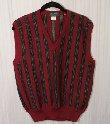 Marshall Fields Men's Vintage Vest Green and Red Sz. M Made In Italy