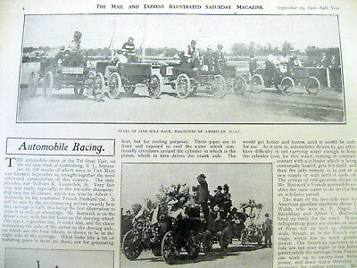 1900 illustrated newspaper wPictures EARLY AUTOMOBILE RACE Guttenberg New Jersey