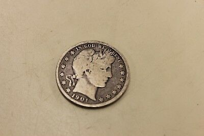 1901 Barber Half Dollar 50 cent 90% silver Free Shipping!!