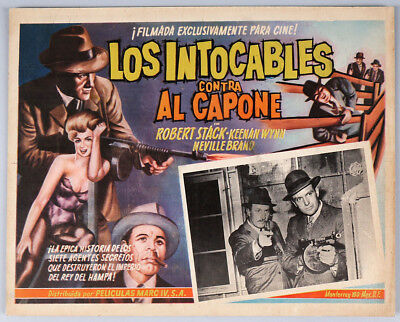 Vintage 1962 Spanish Language Lobby Card Gangster Scarface Mob Al Capone Mafia