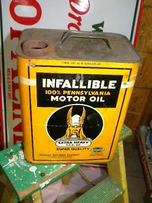 Old Infallible Motor Oil 2 Gallon Can w/ Viking Graphics