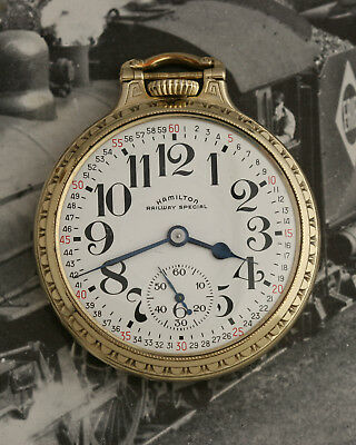 Excellent 1949 MONTGOMERY DIAL Hamilton 992B 10K YGF BOC RAILROAD Pocket Watch
