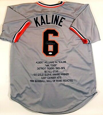 Al Kaline Autographed Tigers Custom Grey Stat Jersey Jsa Authenticated