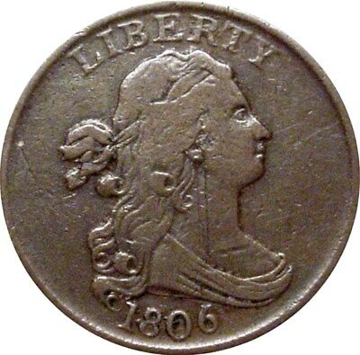 1806 Draped Bust Half Cent--Very Fine--Small 6, Stemless