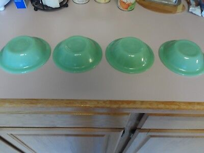 "Lot of 4 Fire King Oven Ware  JADEITE JADE-ITE 6 1/2"" FLAT SOUP BOWLS"