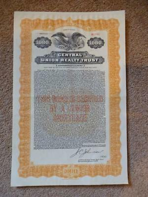scripophily share bond CENTRAL UNION REALTY TRUST illinois USA 1929