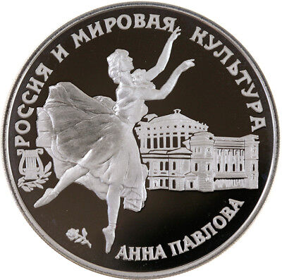 3 Rubel 1993, Russland, Silber, PP/Proof, Anna Pawlowa, Parch. 1009