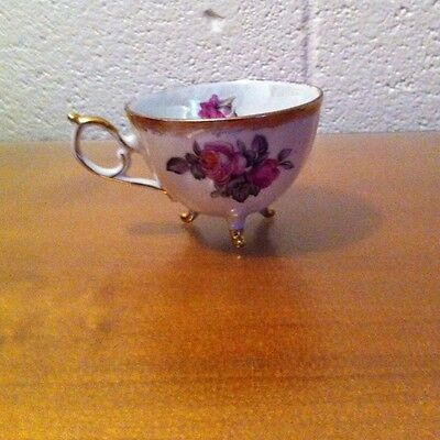 Original Napco China Cup Hand Painted Vintage Gold Trim Footed Tea Cup Pearl