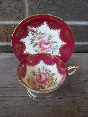 Vintage Red / Gold & White Paragon Bone China Cup And Saucer With Pink Rose