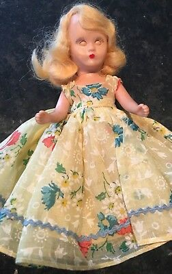 Nancy Ann Storybook Doll Blond Hair W/Yellow Floral Dress Hat Petticoat