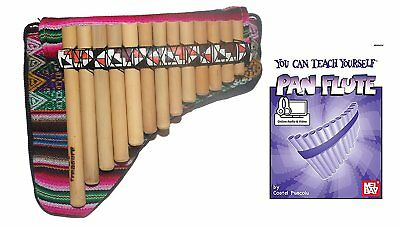 Beginners Bamboo Pan Flute 13 Pipes + Case + Guide Book & Online Audio/Video