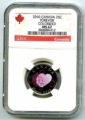 2010 Canada 25 Cent Ngc Ms67 Forever! Quarter Rare Less Than 10,000 Top Pop=14 !