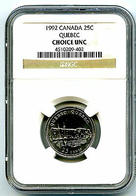1992 Canada 25 Cent Ngc Choice Unc Quebec 125Th Anniversary Quarter