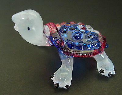 Glass TORTOISE, Blue & Red Painted Glass Ornament, Glass Animal Figure, Gift