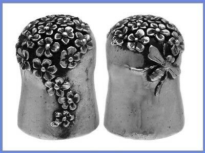 Unusual Sterling Silver Thimble Wtih Flowers & Bee, 20th Century