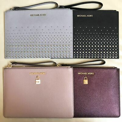 NWT Michael Kors Saffiano Leather Micro Studded Clutch Wristlet Various Color
