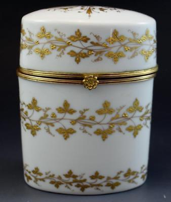 1910 French Limoges Oval Porcelain Tall Dresser Box Gold Encrusted Signed NoRes