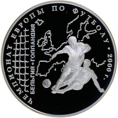 3 Rubel 2000, Russland, Silber, PP/Proof, Fussball-EM, Parch. 1078