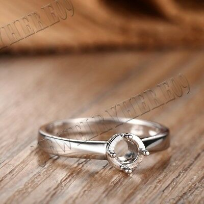 3.5mm Solid 14K White Gold Simple Style Ring Round Prong Setting Solitaire Ring