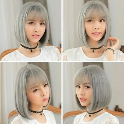 Women Ombre Black Gray Straight short bob Synthetic Hair Full Cosplay Party Wig
