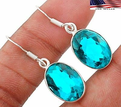 "12CT Apatite 925 Solid Genuine Sterling Silver Earrings Jewelry 1 1/3"" Long"