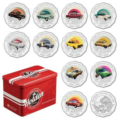 Australia 2016 50c Holden Tin Heritage Collection 12 Coin Complete Set