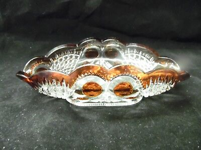 Antique EAPG / Ruby Stained Oval Dish / Pattern Unknown