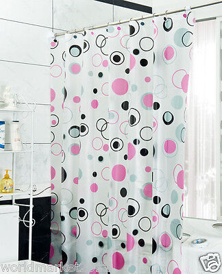 New Fashion PEVA Waterproof Environmental Bathroom Shower Curtain Pink Circle