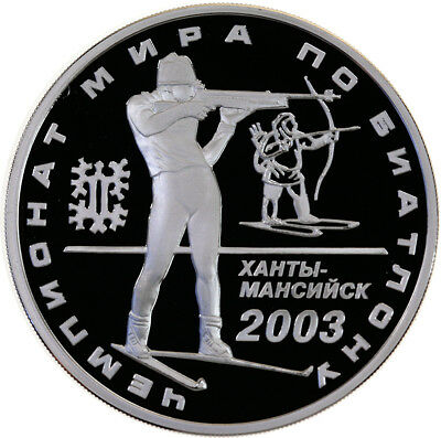 3 Rubel 2003, Russland, Silber, PP/Proof, Biathlon-WM Hanty-Mansijsk, Parch.1110