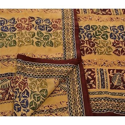 Sanskriti Vintage Indian 100% Pure Crepe Silk Saree Hand Embroidered