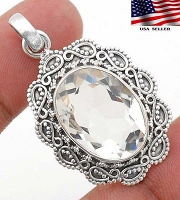 22CT White Topaz 925 Solid  Sterling Silver Detailed Design Pendant