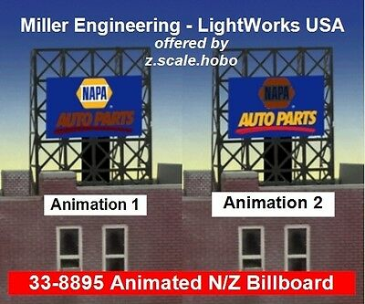 Miller LightWorks 33-8895 Napa Auto Parts Billboard Sign N Z Scale *NEW $0 Ship