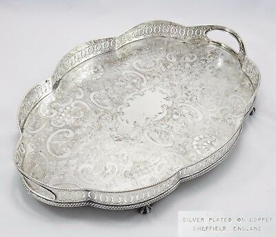 Large Vintage Art Nouveau Gallery Serving Tray Silver Plate On Copper Chased