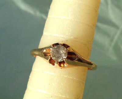 ANTIQUE 10k GOLD WHITE SAPPHIRE BELCHER SET ENGAGEMENT SOLITAIRE RING NOT SCRAP