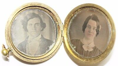 Original 1840s 1850s Double Daguerreotype Locket