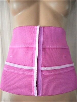 """Passion Pink 9"""" Wide Ribbed Knit Waist Cincher M/l"""