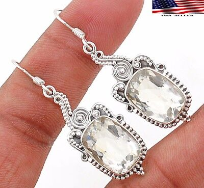 "12CT White Topaz 925 Solid Sterling Silver Earrings Jewelry 1 7/8"" Long"