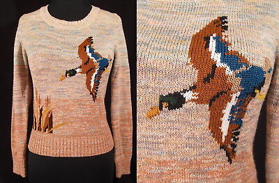 Vintage 1970's SPACE DYED DuCK SWEATER Hippie Boho 70's Bird Novelty BeeWeAR S