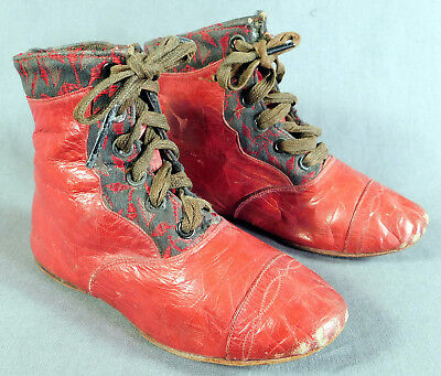 Victorian Antique Rare Red Leather Lace-up High Top Baby Boots Child Shoes Vtg