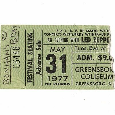 LED ZEPPELIN Concert Ticket Stub GREENSBORO NC 5/31/77 COLISEUM MOBY DICK Rare