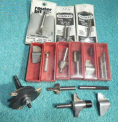 Router Bits-Lot Of 16-Craftsman Mostly-1/4 Inch Drive-Free Us Shipping-No Reserv
