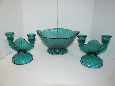 Vintage Glass Dark Green Lot Of Three Glassware Bowl And Two Candle Holders Euc