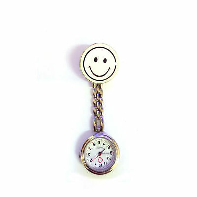 1X White Smiley Face Nurse Doctor Pocket Watch Clip-on Fob Pendant Gift
